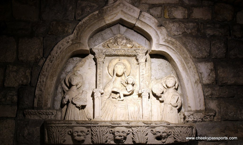 A religious bas-relief inside the walled town of Kotor, a gem in coastal Montenegro