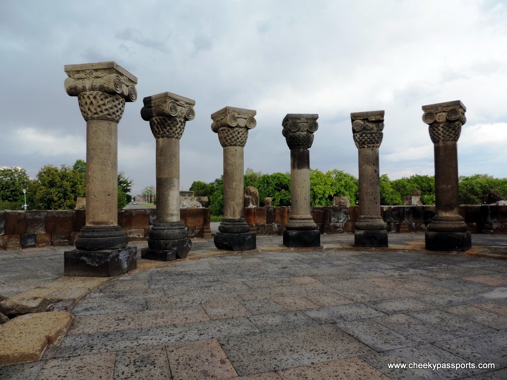 Ancient columns within the ruins of Zvartnots cathedral, amongst the top places to visit in Armenia