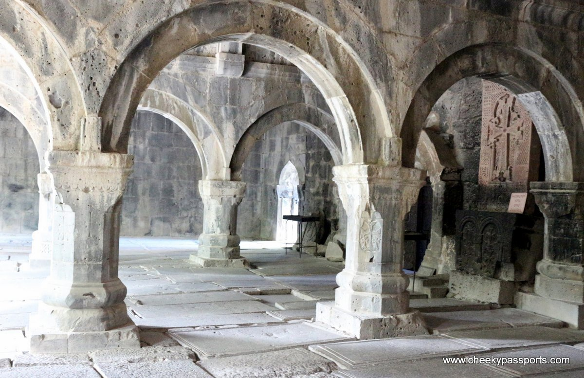 The arches in the dark interior of Sanahin monastery, amongst the top places to visit in Armenia
