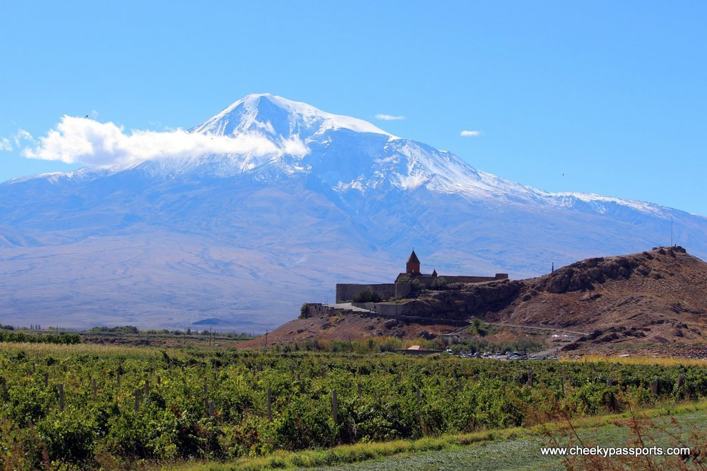 a view of khor virap monastery with the background of Ararat mountain in beautiful armenia