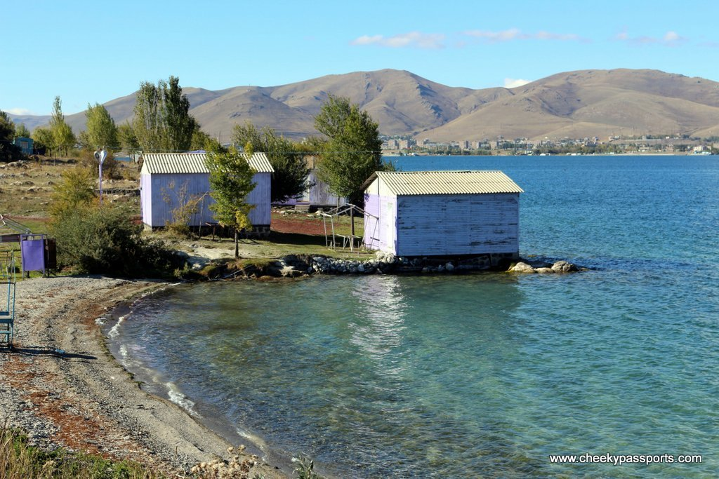 A beautiful scene of a beach on Lake Sevan