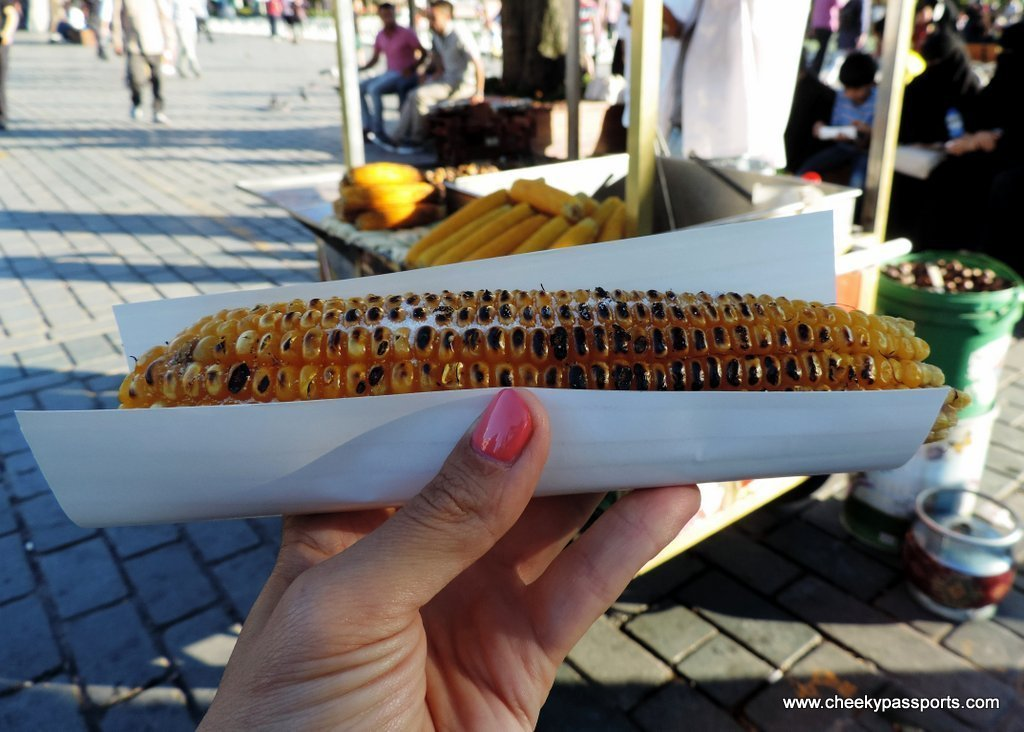 Freshly grilled hot corn on the cob