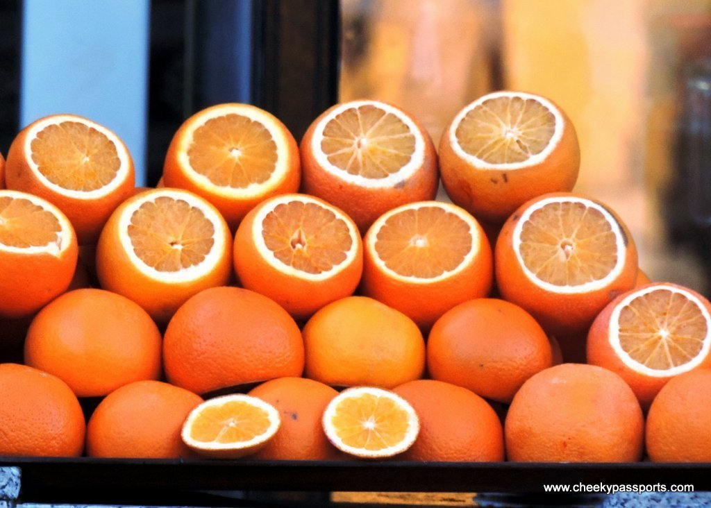 Freshly sliced oranges on the streets of Istanbul, to taste during a layover in Istanbul