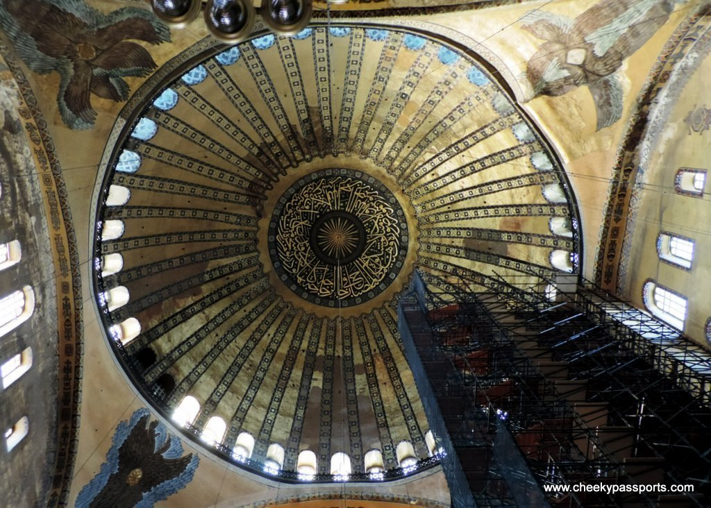 The beautiful dome of the ancient Hagia Sophia to visit during a layover in Istanbul