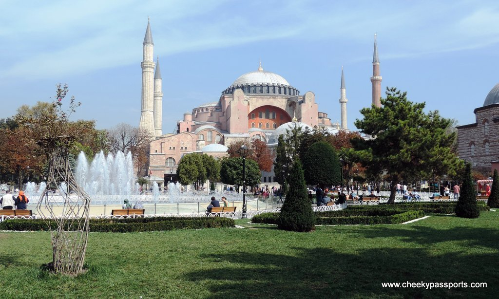The Hagia Sophia on a beautiful day to visit during a layover in Istanbul