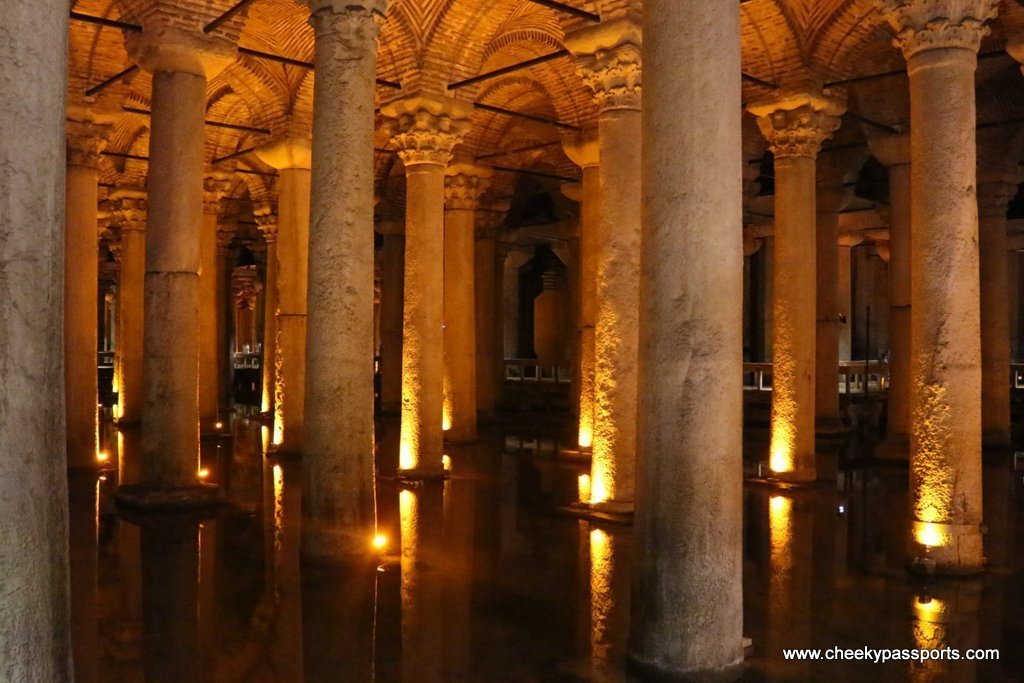 The marble columns holding up the basilica cistern