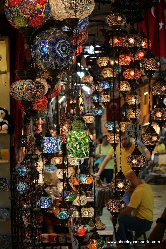 Turkish lamps on display at the Istanbul Gran Bazaar