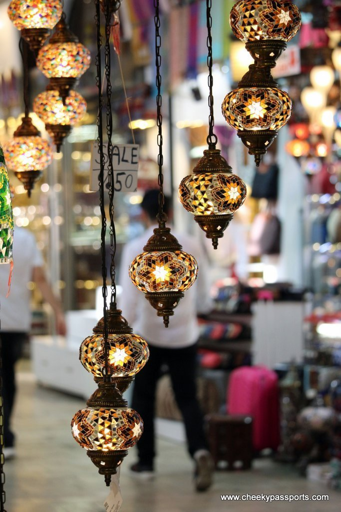 A Turkish lamp on sale at the Istanbul Gran Bazaar