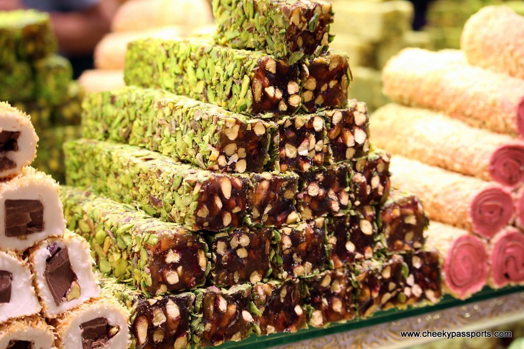 A large assortment of Turkish sweets on display at the Istanbul Grand Bazaar