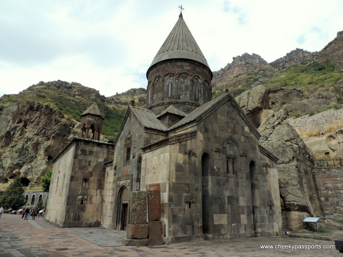 View of theWide angle view of the Geghard monastry in armenia once the resting place of the Holy Lance (monasteries in Armenia)