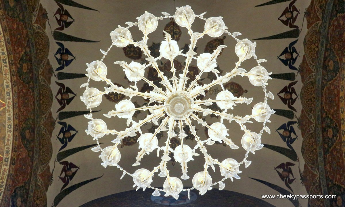 Picture of the chandelier decorating the roof of the Etchmiadzin Cathedral and monastery in Armenia