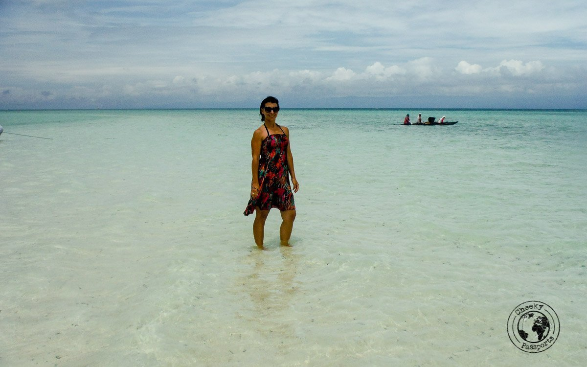 Michelle on top of the sand dune at the Virgin island, Pangloa - Why we won't recommend the Panglao island hopping tour