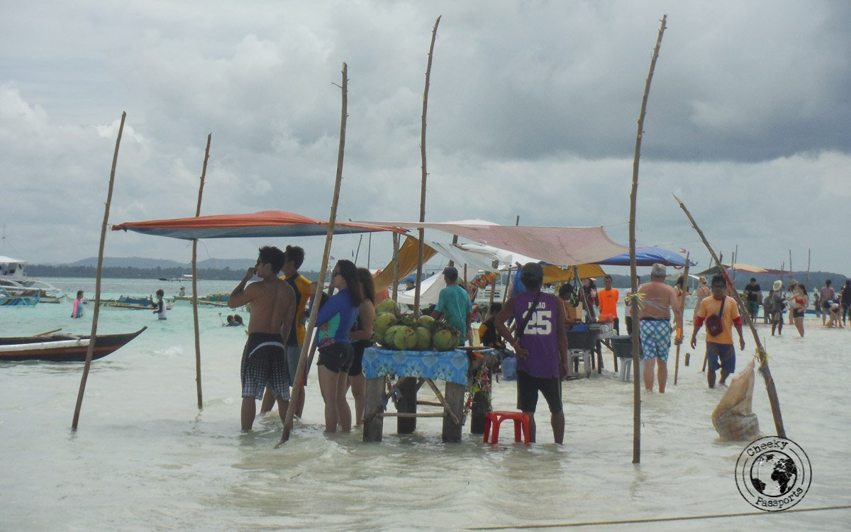 Stalls on top of the sand dunes at the Virgin Island in Panglao - Bohol tourist spots