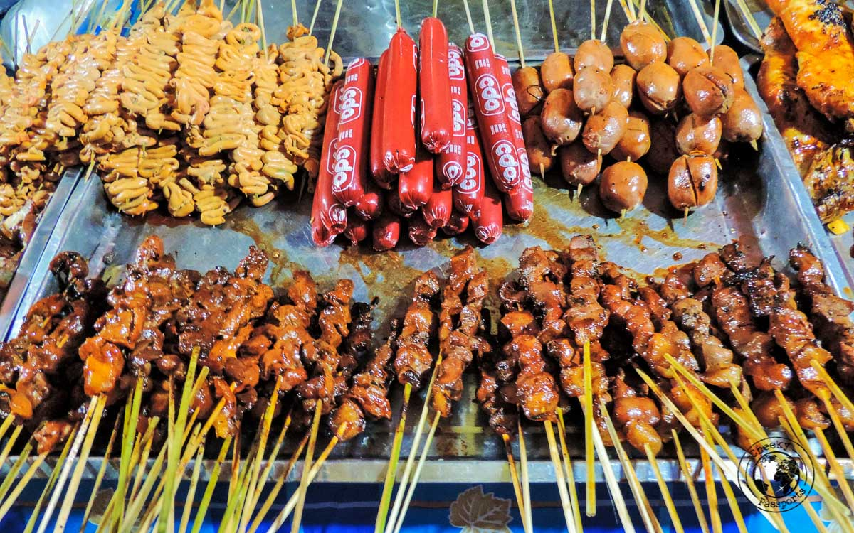 Tourist spots in Coron, Palawan - Street food in Coron displaying mostly chicken and pork innards