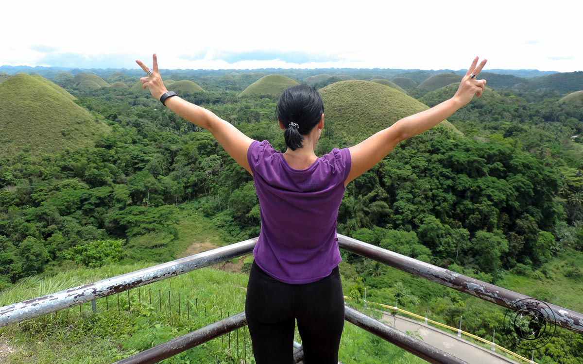 Michelle enjoying the view of the chocolate hills in bohol - the best and worst of Bohol