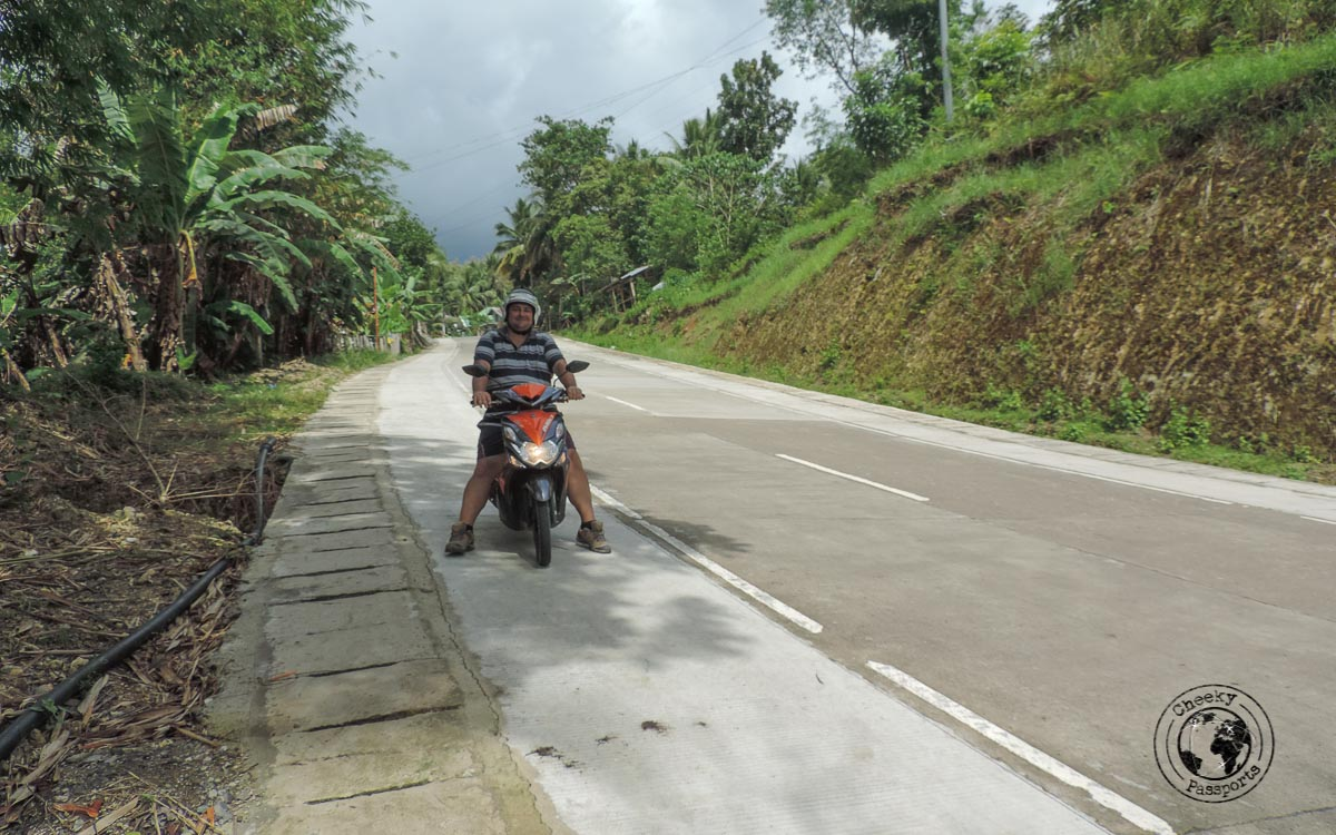 Rural bohol and Nikki on the rented scooter - Bohol tourist spots
