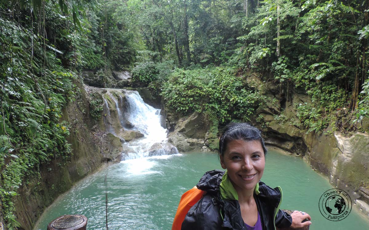 michelle enjoying the view at Mag-Aso falls - Bohol tourist spots