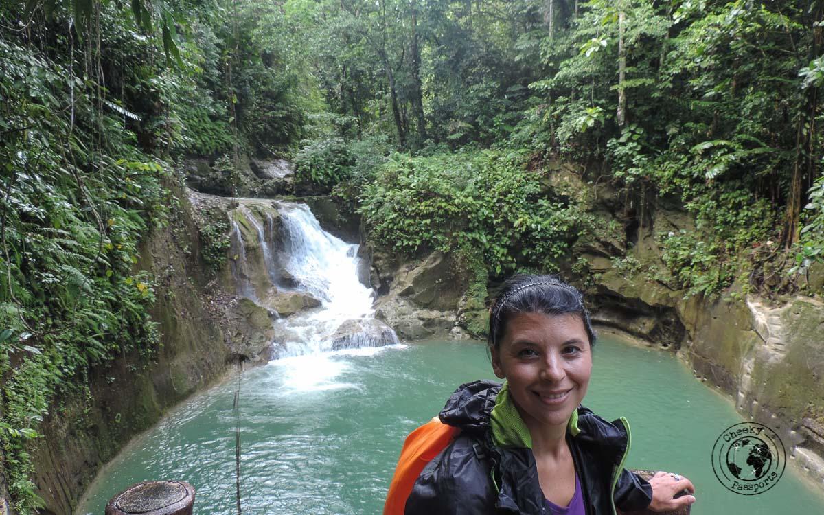 michelle enjoying the view at Mag-Aso falls - Bohol tourist spots