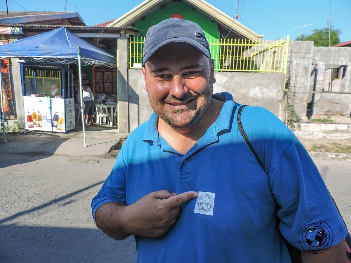 Nikki wearing a VIP sticker assigned by the town hall - San Fernando Pampanga from Manila