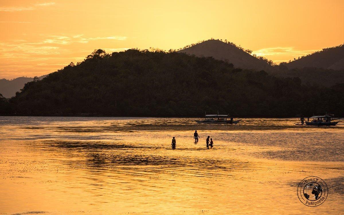 Highlights of Coron - Orange (almost yellow) Sunset over Coron,
