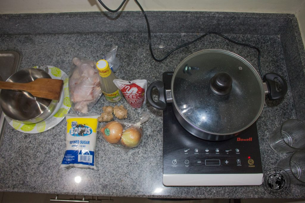 The ingredients for Chicken Adobo recipe, weighed and prepared