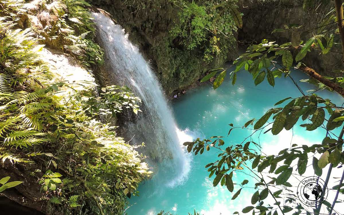 Waterfall at the Kawasan falls. One of the best things to do in Moalboal