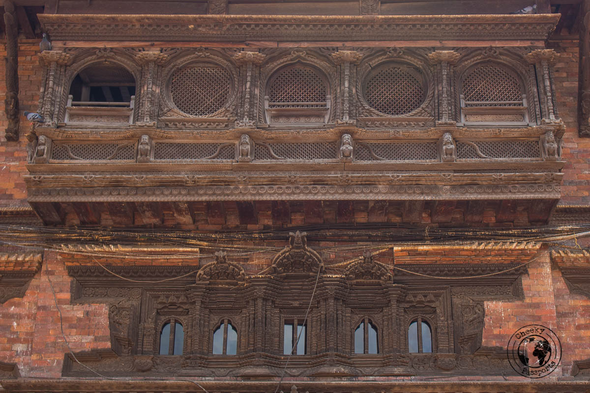 Intricate wood carved balcony in Dattatraya Square at Bhaktapur Durbar Square