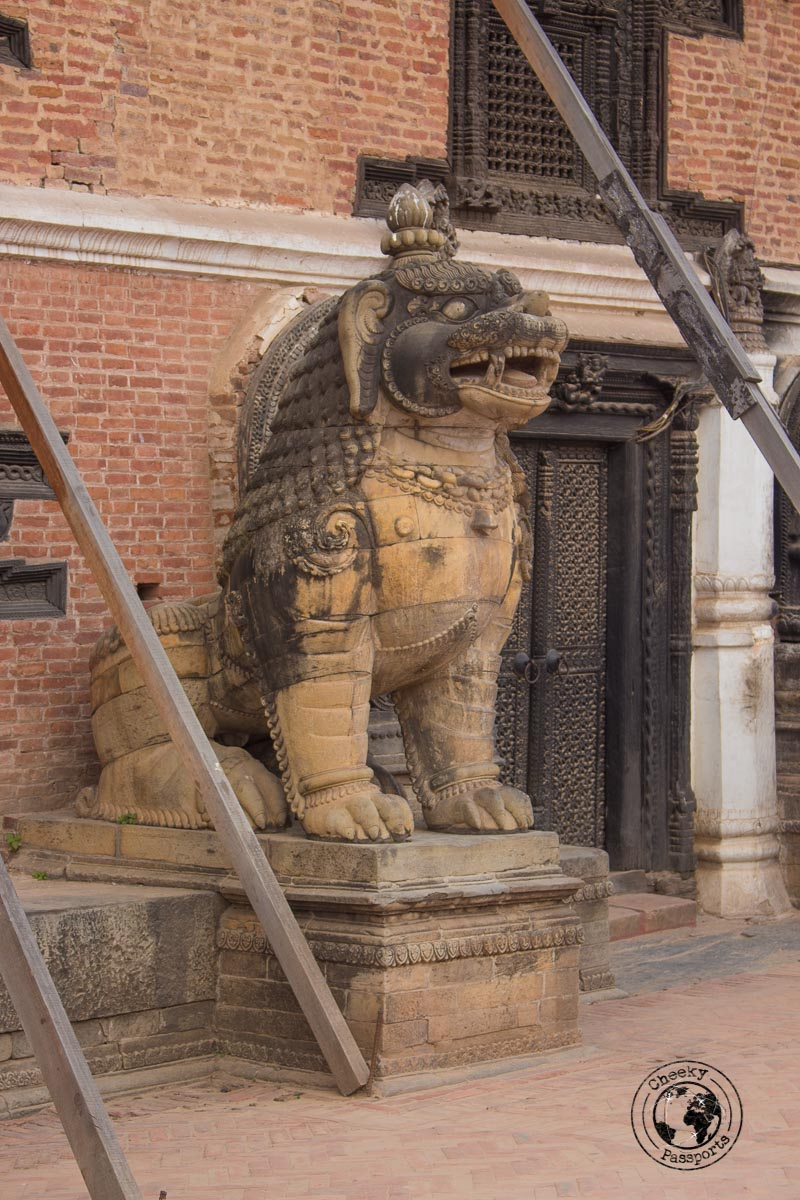 A Hindu mystical Creature guarding the museum of art at the Bhaktapur Durbar Square
