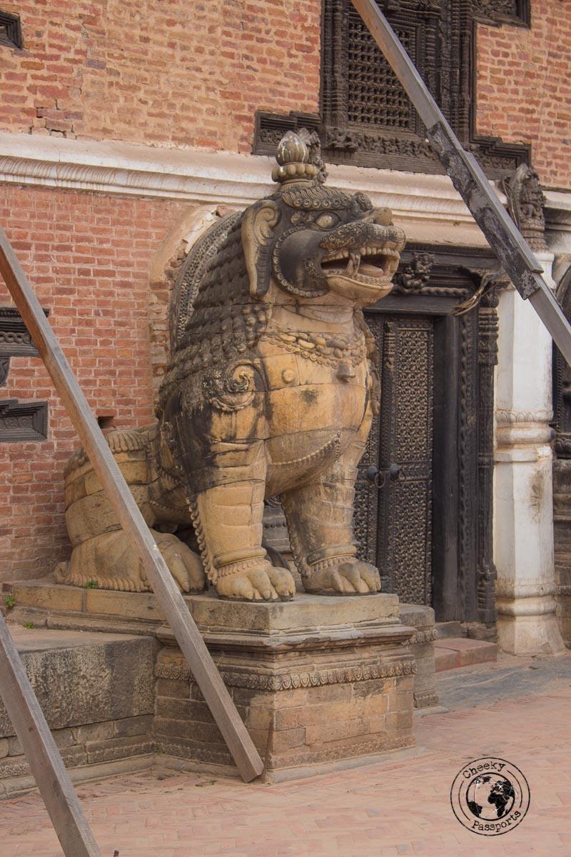 A Hindu mystical Creature guarding the museum of art at the Bhaktapur Durbar Square