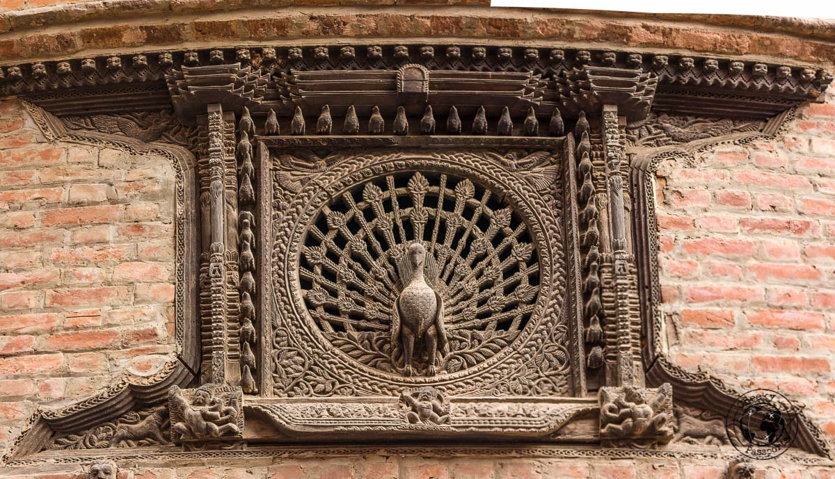 Peacock Window at Bhaktapur Durbar Square in Nepal