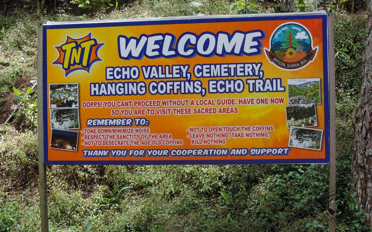 Notice upon entry to the Echo Valley in Sagada