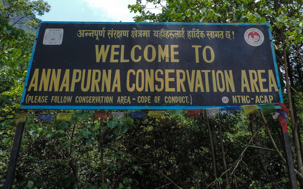 welcome to Annapurna sign - Poon hill trek