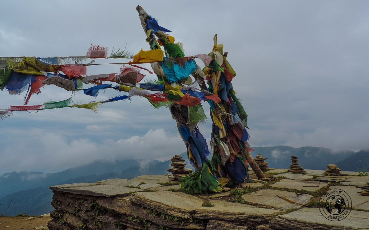 a collection of prayer flags at the Poon hill trek, Pokhara