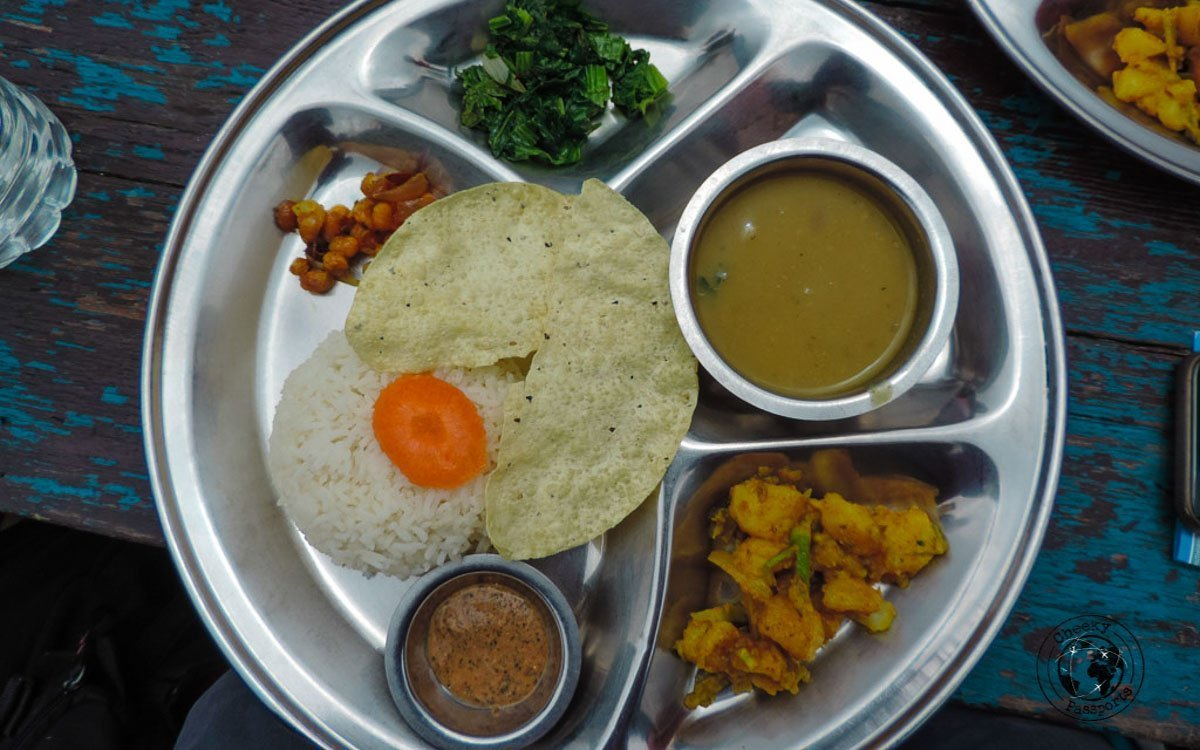 dhal and food at the Poon hill trek, Pokhara