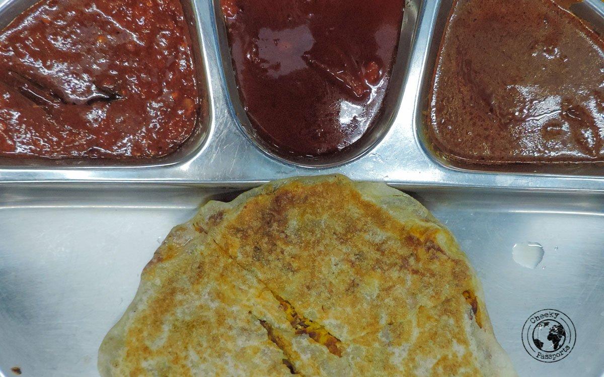 Chicken Murtabak with dipping sauces - Budget Restaurants in KL