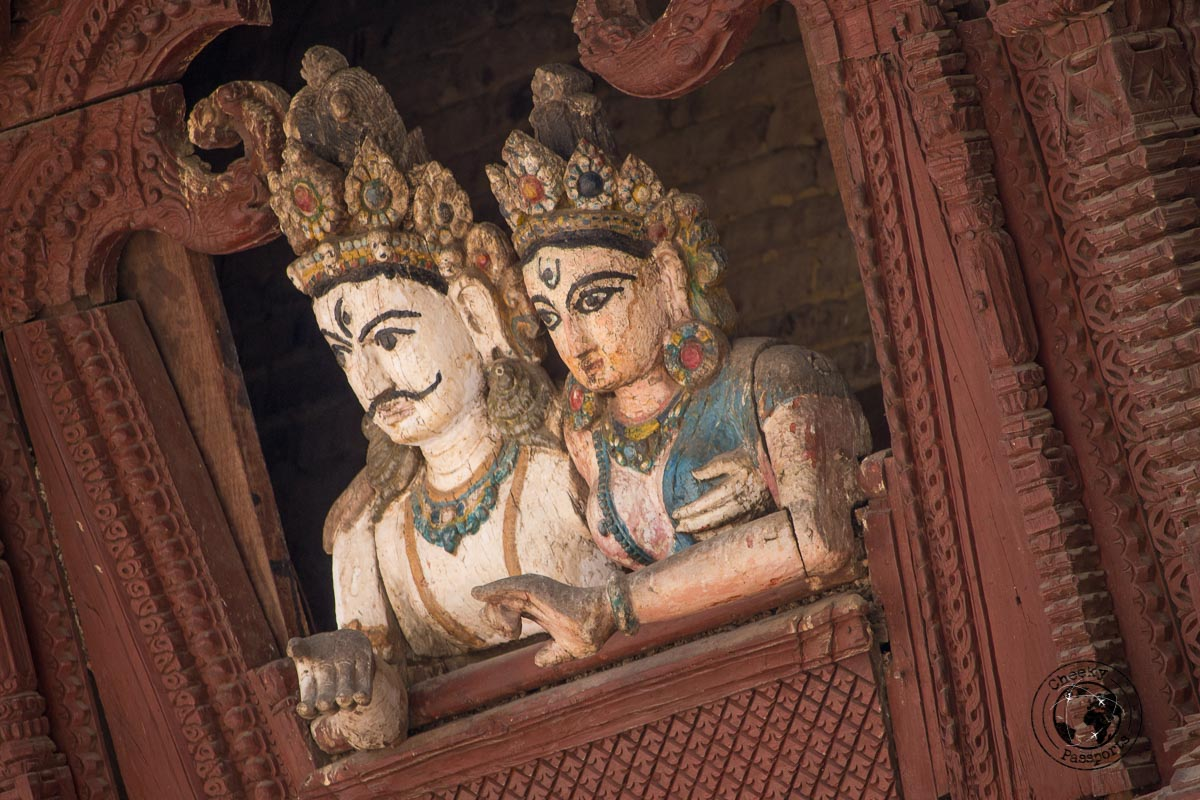 intricate decorations of two figurines at the Kathmandu Durbar Square, one of the best places to visit in Kathmandu