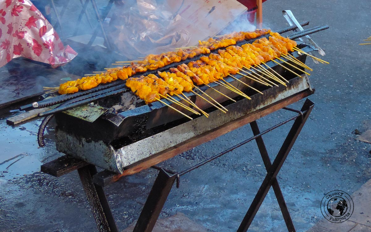 Satay grill - street foods in Malaysia
