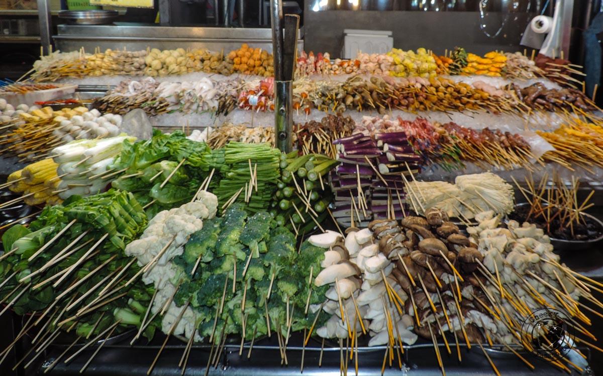 Skewers - street foods in Malaysia