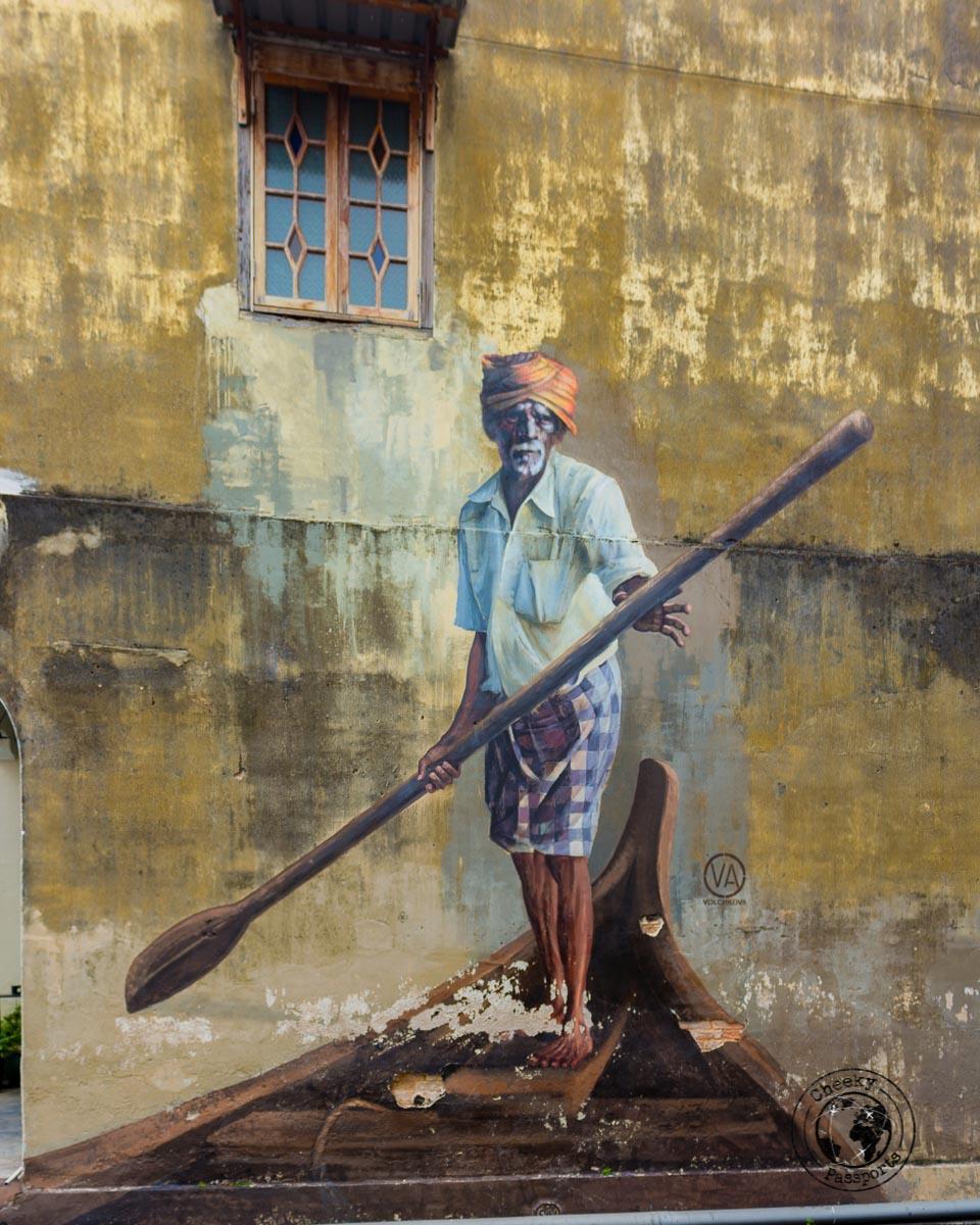 Boating Indian - Street art in Penang