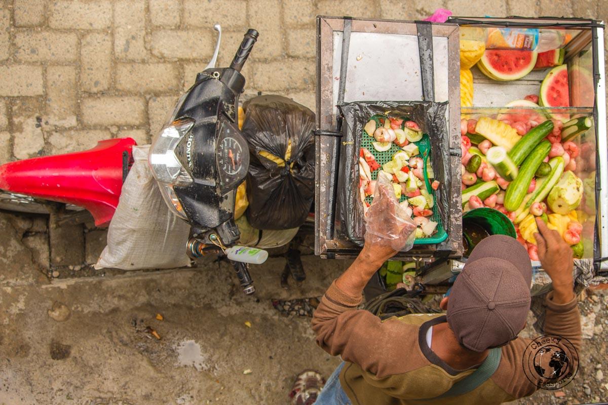 A Fruit street vendor - Bukit Lawang trekking