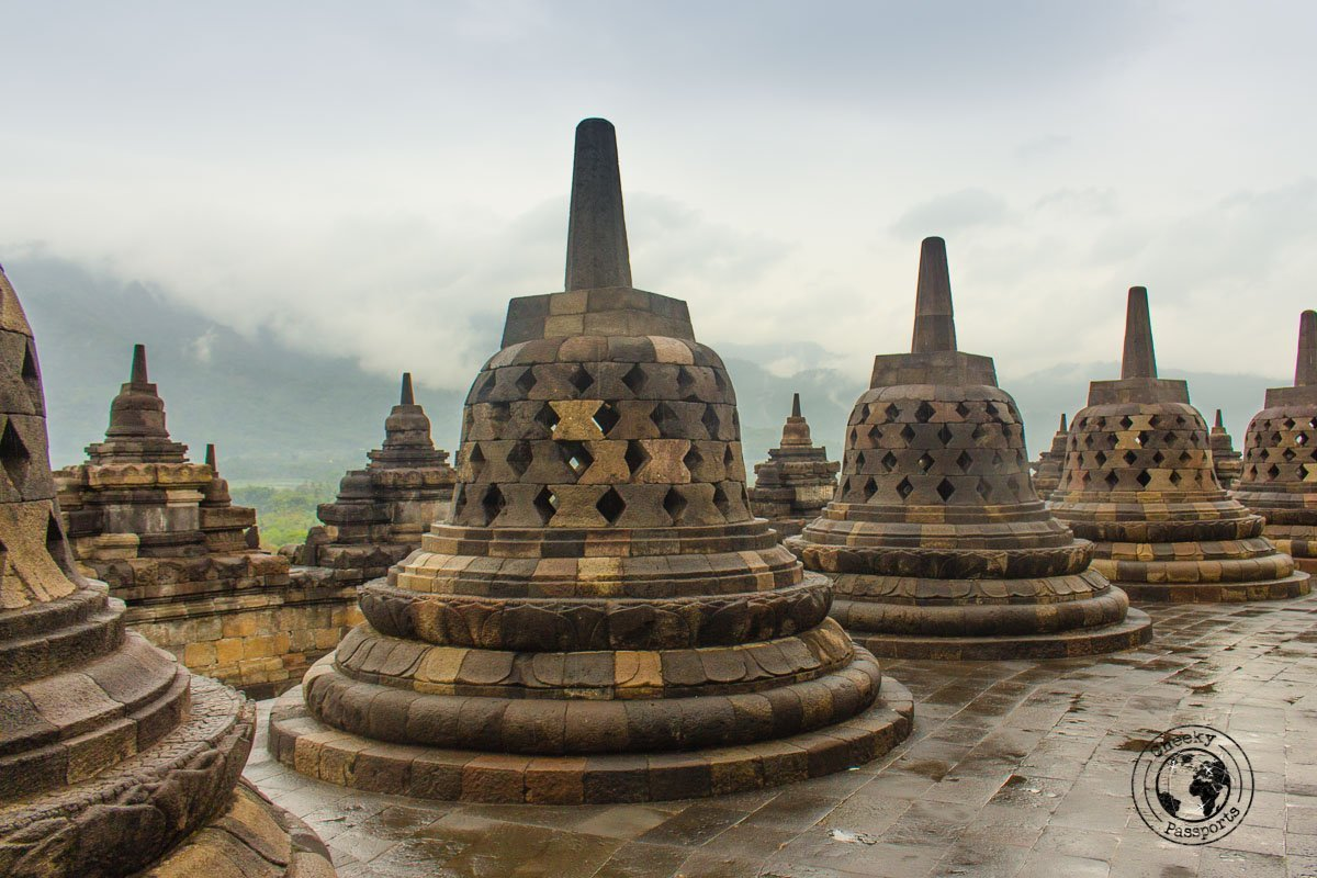 Bell Shaped stupas at Borobodur - Places to visit and what to do in Yogyakarta