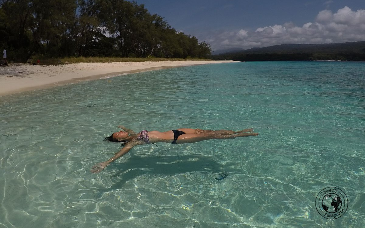 Michelle floating away at Jaco Island- How to get to Jaco Island in Timor-Leste – a guide