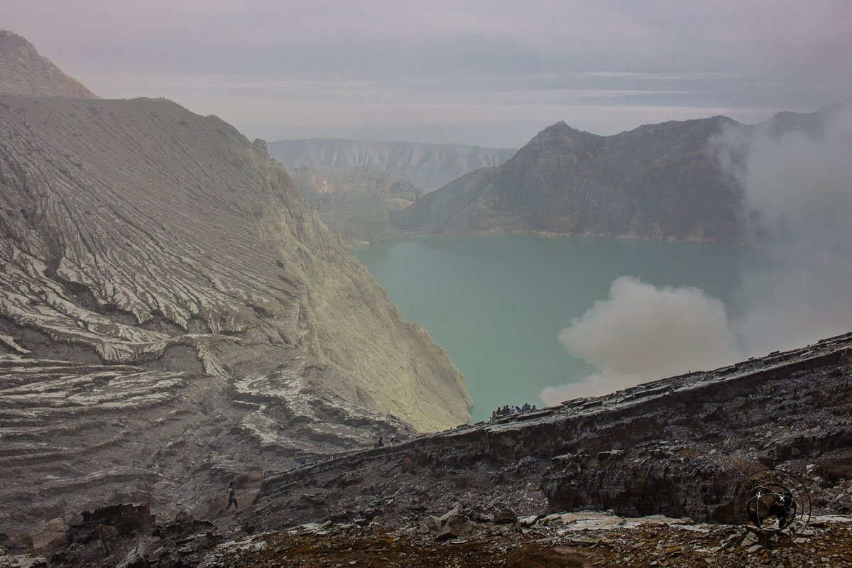 Kawah Ijen's sulphur acid lake on a very foggy morning - Bromo getting nervous - Mount Bromo Sunrise and Kawah Ijen Blue Flames in 2 days (without a tour)
