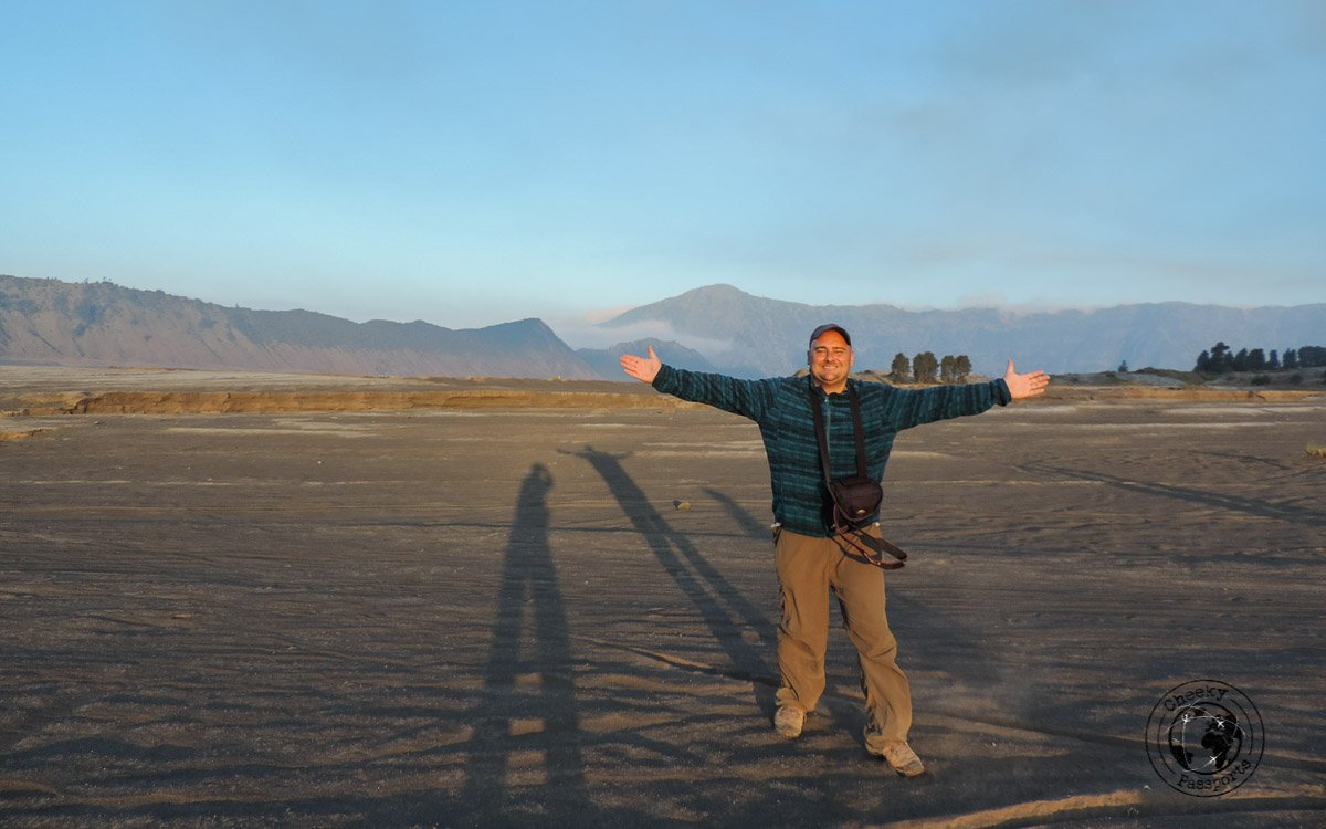 Niki posing in the sea of sand - Mount Bromo Sunrise and Kawah Ijen Blue Flames in 2 days (without a tour)
