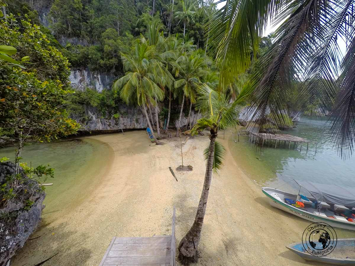 A secluded beach on one of the karst islands in Gam, Raja Ampat, Papua