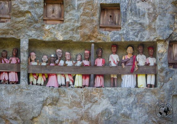 Close up of the Tau Tau Statuettes at the Lemo burial site near Rantepao in Tana Toraja