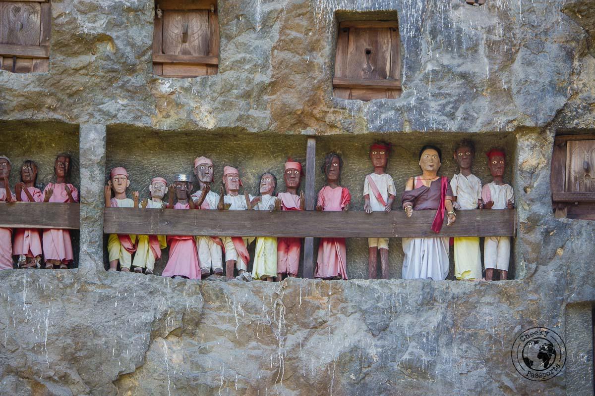 Close up of the Tau Tau Statuettes at the Lemo burial site near Rantepao in Tana Toraja, Indonesia