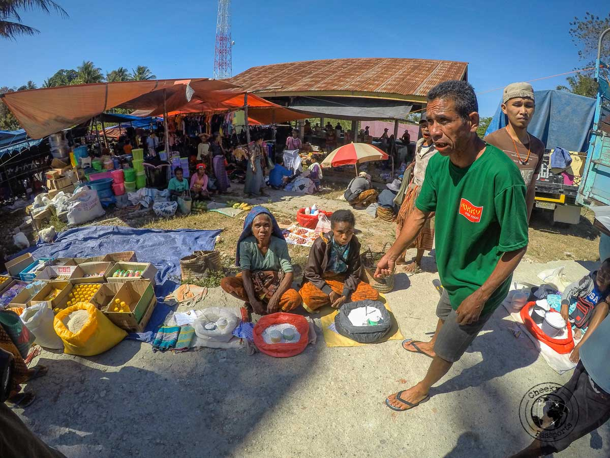 Our guide Timus at the Desa Nusa market whilst exploring west timor, indonesia. . West Timor Travel
