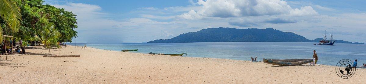 Panoramic view of the beach at Banda Hatta, Spicing it up at the Banda Islands Maluku Indonesia