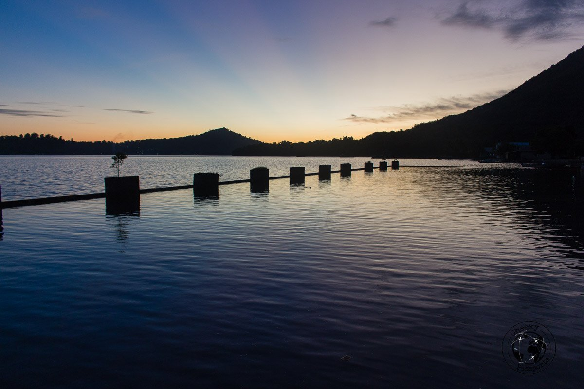The Bandaneira Quay at sunet, The view from the Cilu Bintang Estate in Bandaneira, Spicing it up at the Banda Islands Maluku Indonesia
